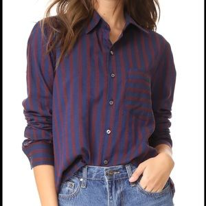 Amo Striped Pocket Ruffle Prep Blouse